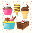 different types of sweets vector image vector image