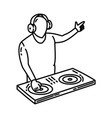 dj music party icon doodle hand drawn or outline vector image