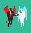 fight devil and angel satan and god is boxing vector image vector image