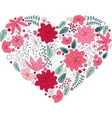 Floral heart on white made of flowers vector image