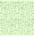 green seamless handrawn pattern floral background vector image