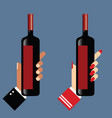 hand holds the wine bottle vector image vector image