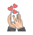 hands with smartphone love hearts vector image vector image