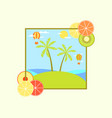 landscape with an island and palm trees hot air vector image vector image