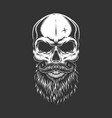 monochrome skull with beard and mustache vector image vector image