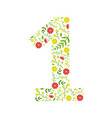 number 1 green floral made leaves vector image vector image