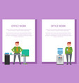 office work posters set men with water workplace vector image