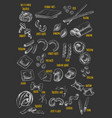 pasta or macaroni chalk sketch icons vector image