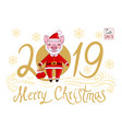 piglet and golden text 2019 vector image vector image