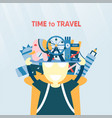 poster design for travelling of the world vector image vector image