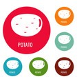 potato icons circle set vector image