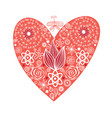 red heart with ornament vector image