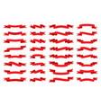 red ribbon flat banner stripe tape retro flag set vector image vector image