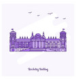 reichstag building landmark purple dotted line vector image