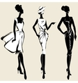 Retro fashion models in sketch style fall winter vector image vector image