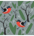 seamless bird pattern wintermerry christmas vector image