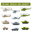 set flat military design vector image