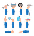 set of auto service maintenance icons with hand vector image