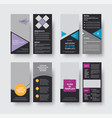 set of black flyer templates of dl format with vector image