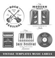 set of vintage musical labels templates vector image vector image