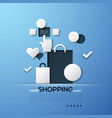 shopping paper concept white silhouettes bags vector image vector image