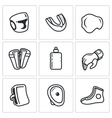 Sports Equipment for martial arts icons set vector image