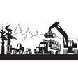 timber harvesting in forest vector image vector image