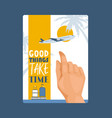 travel concept with hand touching screenposter vector image vector image