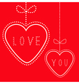 Two hanging red hearts with bows Love card vector image vector image