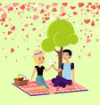 valentine picnic day couple sits on blanket vector image vector image