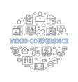 video conference outline concept round vector image