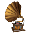 Vintage gold gramophone vector image