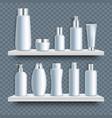 white blank bathroom cosmetic bottle mockup set vector image
