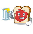 with juice bread with jam mascot cartoon vector image