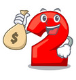 with money bag cartoon paper number two on letter vector image