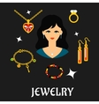 Woman with jewels and gold in flat style vector image vector image