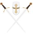 Templar swords and helmet vector image