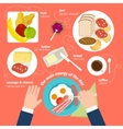 Breakfast food and drinks flat icons vector image