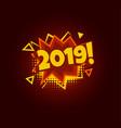 2019 comic speech bubble pop art design new year vector image vector image