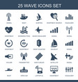 25 wave icons vector image vector image