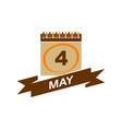 4 may calendar with ribbon vector image