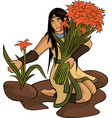 beautiful woman with bouquet vector image vector image