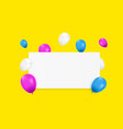 blank banner with color balloons vector image vector image