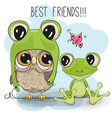 cartoon owl in a frog hat and frog vector image