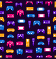 cartoon silhouette gamepad seamless pattern vector image