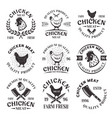chicken meat set emblems labels badges vector image