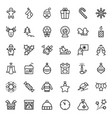 christmas icon set in thin line style symbols vector image vector image
