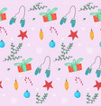 christmas pattern with gifts balls and mittens vector image