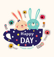 cute cartoon bunnies vector image vector image