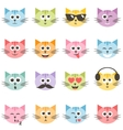 cute colorful cat faces set vector image vector image